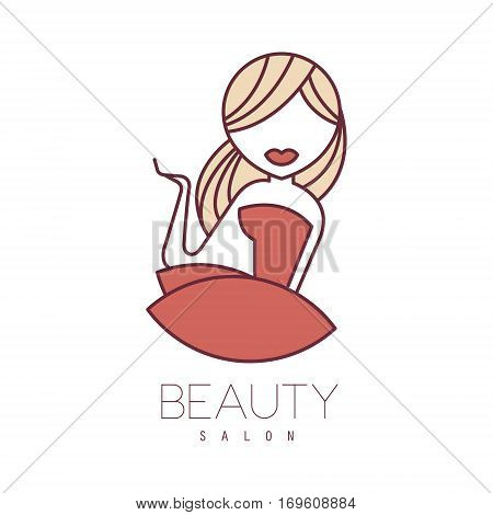 Natural Beauty Salon Hand Drawn Cartoon Outlined Sign Design Template With Blond Girl In Red Dress. Artistic Promotion Logo For Cosmetology Services And Beautifying Procedures.