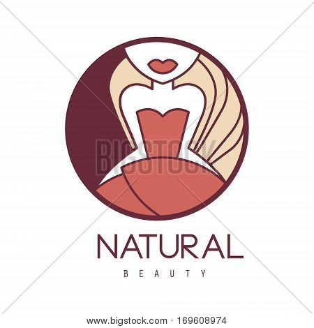 Natural Beauty Salon Hand Drawn Cartoon Outlined Sign Design Template With Girl In Red Dress Below Eyes In Round Frame. Artistic Promotion Logo For Cosmetology Services And Beautifying Procedures.