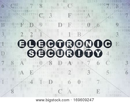 Security concept: Painted black text Electronic Security on Digital Data Paper background with Hexadecimal Code