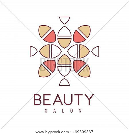 Natural Beauty Salon Hand Drawn Cartoon Outlined Sign Design Template With Stylized Simple Geometric Pattern In Red And Yellow. Artistic Promotion Logo For Cosmetology Services And Beautifying Procedures.