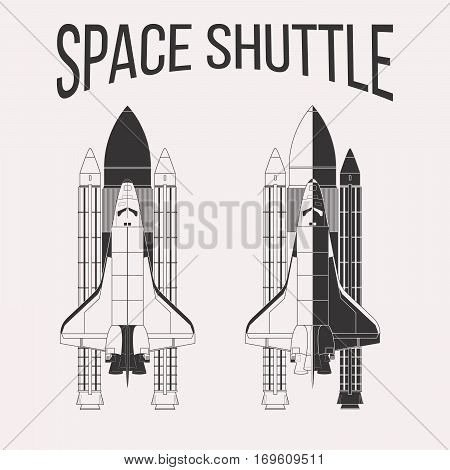American space shuttle design isolated on white background