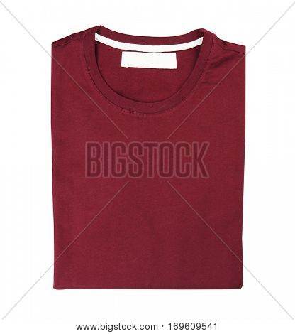 Blank maroon t-shirt on white background