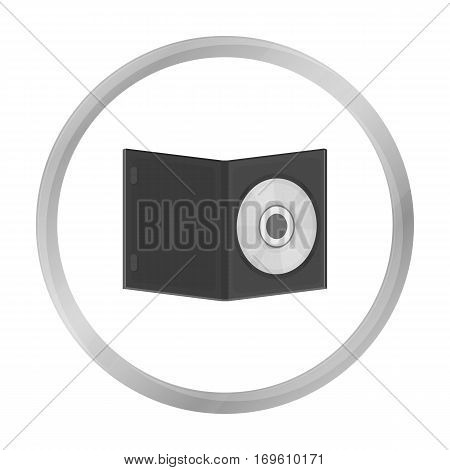 DVD with movie icon in monochrome style isolated on white background. Films and cinema symbol vector illustration.