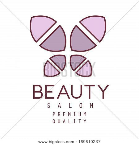 Natural Beauty Salon Hand Drawn Cartoon Outlined Sign Design Template With Simple Geometric Shape Violet Butterfly. Artistic Promotion Logo For Cosmetology Services And Beautifying Procedures.