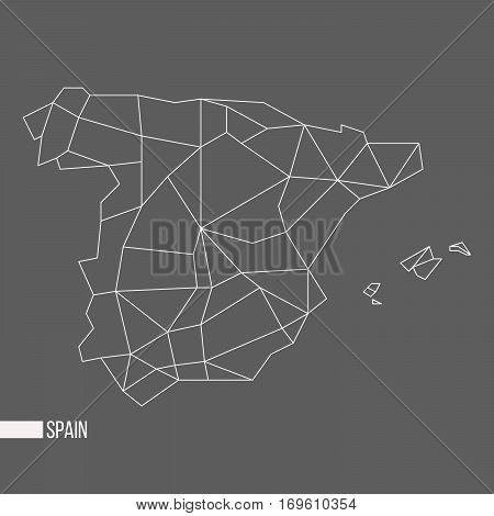 Abstract polygonal geometric Spain, Balearic islands, Ibiza, Mallorca, Menorca, Formentera minimalistic map isolated on grey background