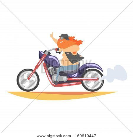Outlaw Biker Club Member With Long Beard Riding Fast Heavy Chopper In Leather Vest. Vector Illustration With Beardy Dangerous Looking Biker And Motorcycle With Subculture Attributes.