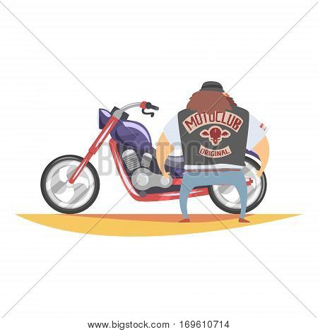 Outlaw Biker Club Member With Long Beard And Brown Hair Standing Next To Heavy Chopper In Leather Vest. Vector Illustration With Beardy Dangerous Looking Biker And Motorcycle With Subculture Attributes.