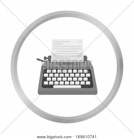 Typewriter icon in monochrome style isolated on white background. Films and cinema symbol vector illustration.