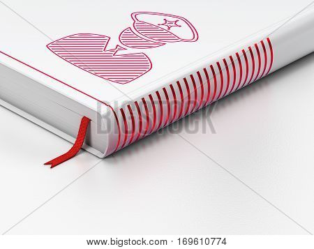 Security concept: closed book with Red Police icon on floor, white background, 3D rendering