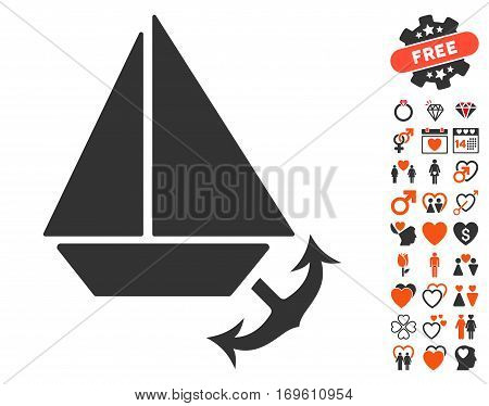 Seaport pictograph with bonus decorative pictures. Vector illustration style is flat iconic symbols for web design app user interfaces.