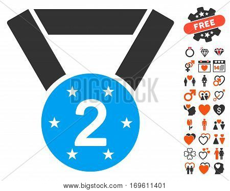 Second Medal icon with bonus love symbols. Vector illustration style is flat iconic elements for web design app user interfaces.