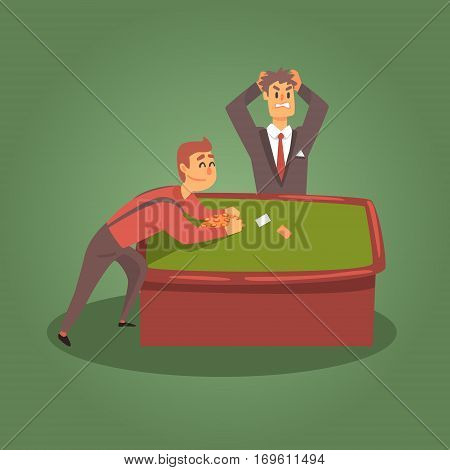 Gambler Breaking The Bank At The Poker Table With Dealer In Horror, Gambling And Casino Night Club Related Cartoon Illustration. Classic Las Vegas Gambling Club Cartoon Vector Drawing.