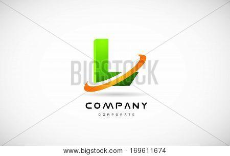 l green 3d letter technology media alphabet vector company logo icon sign design template