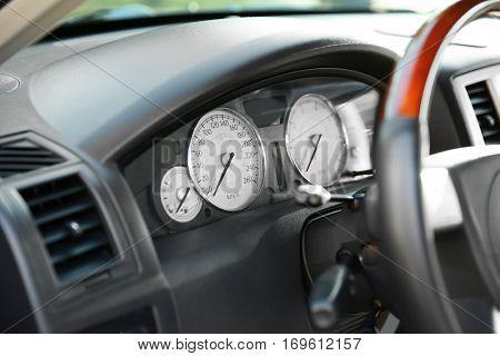 Closeup of expensive car interior