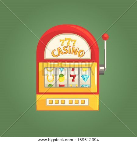 One-Armed Bandit Slot Machine, Gambling And Casino Night Club Related Cartoon Illustration. Classic Las Vegas Gambling Club Cartoon Vector Drawing.