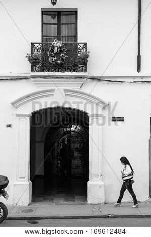 popayan, colombia - November, 27th, 2015 - house on the main street in white city popayan colombia south america