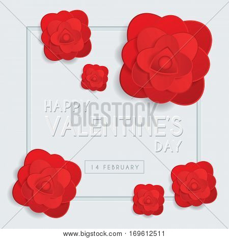 Happy Valentine's Day greeting card template with emboss text & red roses on white background. 14 february vector illustration.