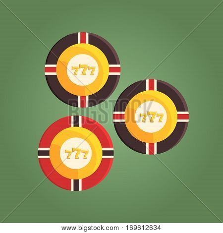 Gambling Chips Equivalent To Money, Gambling And Casino Night Club Related Cartoon Illustration. Classic Las Vegas Gambling Club Cartoon Vector Drawing.