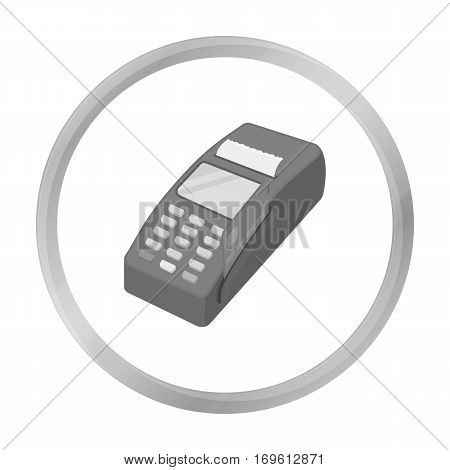 POS terminal icon in monochrome style isolated on white background. E-commerce symbol vector illustration.