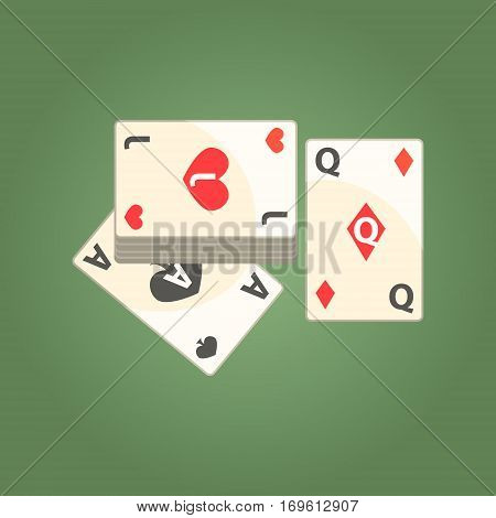 Three Playing Cards For Poker Game, Gambling And Casino Night Club Related Cartoon Illustration. Classic Las Vegas Gambling Club Cartoon Vector Drawing.