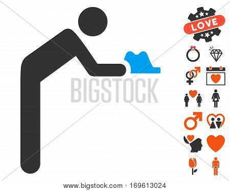 Servant pictograph with bonus dating pictograms. Vector illustration style is flat iconic elements for web design app user interfaces.