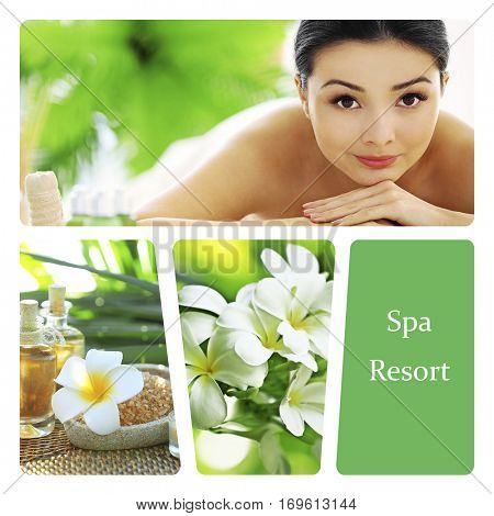 Spa resort concept. Luxury treatment collage