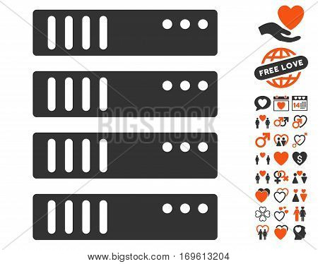 Server pictograph with bonus love pictograms. Vector illustration style is flat iconic elements for web design app user interfaces.