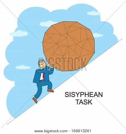 Vector illustration of style flat linear design on hard work, overcoming difficulties, Sisyphus poster