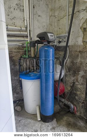 View of water softener and other components