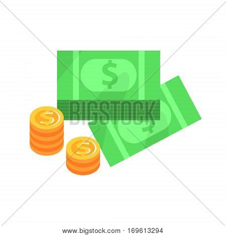 Dollar Bills And Golden Coins , Gambling And Casino Night Club Related Cartoon Illustration. Classic Las Vegas Gambling Club Cartoon Vector Drawing.