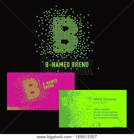 Template B brand name -Company. Corporate identity for the company on the letter B: logo, business card. Creative logo of pixels consists of particles letter B