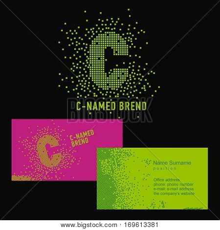 Template C brand name -Company. Corporate identity for the company on the letter C: logo, business card. Creative logo of pixels consists of particles letter C