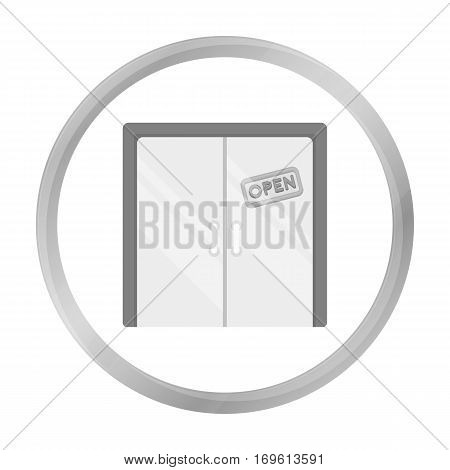 Open store icon in monochrome style isolated on white background. E-commerce symbol stock vector illustration.