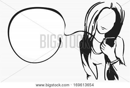 Business woman silhouette.The girl looks at the phone, which is holding in her hand. Female monochrome.Sketch comics style.The bubble for text messages.Vector illustration isolated on white background.