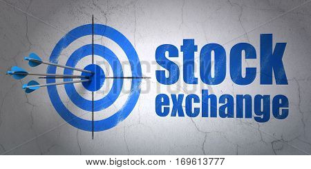 Success finance concept: arrows hitting the center of target, Blue Stock Exchange on wall background, 3D rendering
