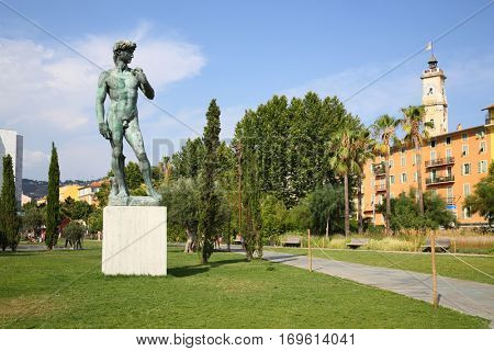 Copy of David by Michelangelo statue in Nice, France in summer day