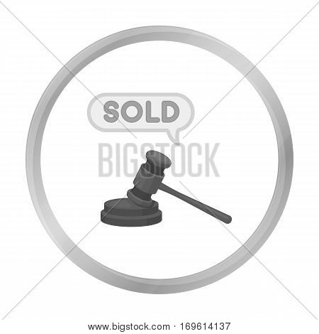 Auction hammer icon in monochrome style isolated on white background. E-commerce symbol vector illustration.
