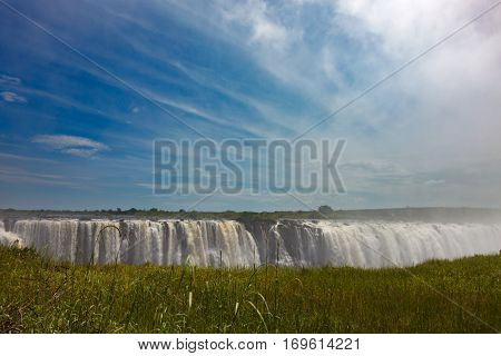 The Drop Of Water On The Victoria Falls On The African River Zambezi