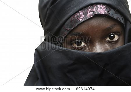 Gorgeous African Little Girl Veiled by an Arabic Typical Clothing - Niqab