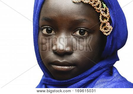 Sadness Symbol - Little African Girl Posing with a Blue Headscarf Isolated on White