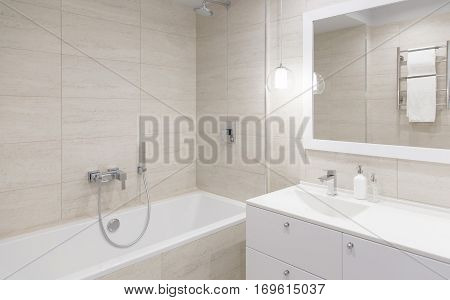 bathroom Interior. bathroom mirror with a Stand Mirror table