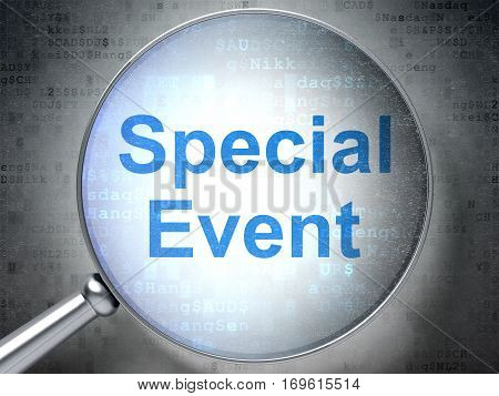 Finance concept: magnifying optical glass with words Special Event on digital background, 3D rendering