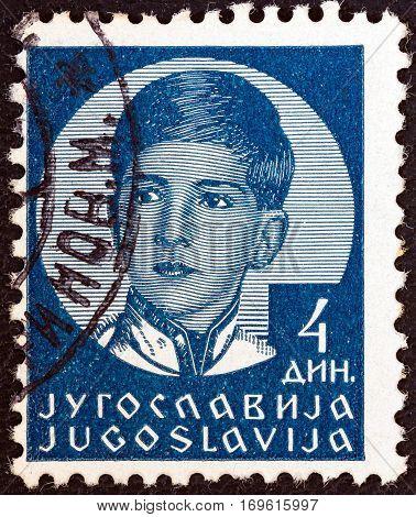 YUGOSLAVIA - CIRCA 1935: A stamp printed in Yugoslavia shows King Peter II, circa 1935.