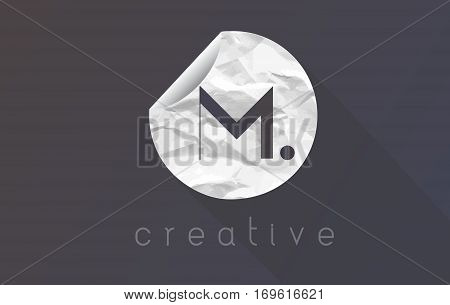 M Letter Logo with Crumpled And Torn Wrapping Paper Texture Vector.