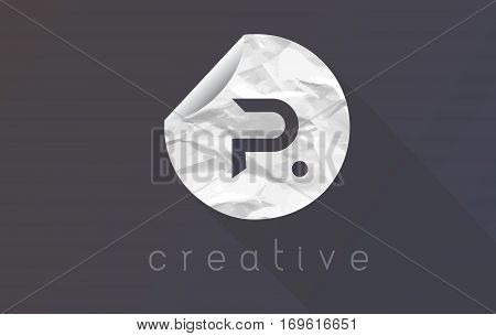 P Letter Logo with Crumpled And Torn Wrapping Paper Texture Vector.