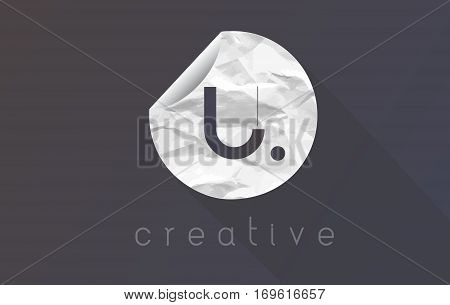 U Letter Logo with Crumpled And Torn Wrapping Paper Texture Vector.