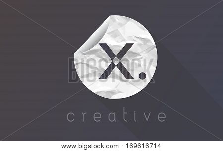X Letter Logo with Crumpled And Torn Wrapping Paper Texture Vector.