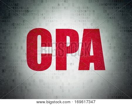 Business concept: Painted red word CPA on Digital Data Paper background