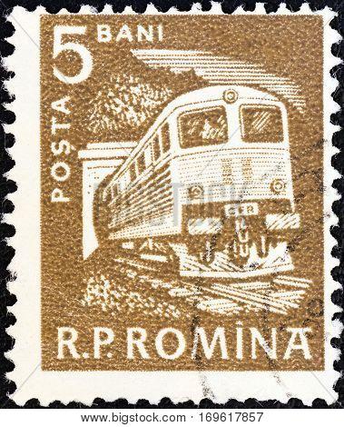 ROMANIA - CIRCA 1960: A stamp printed in Romania shows Diesel train, circa 1960.