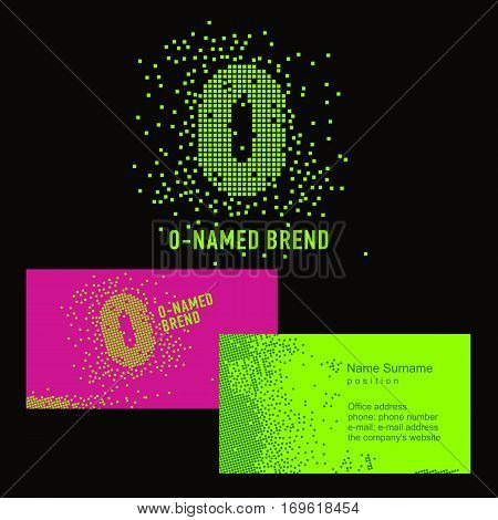Template O brand name -Company. Corporate identity for the company on the letter O: logo, business card. Creative logo of pixels consists of particles letter O